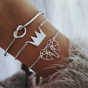 Elephant & Crown Bracelets & Knot Bangle