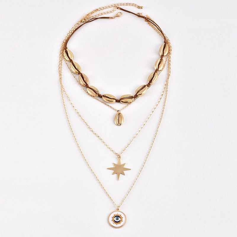 Multilayered Gold Necklaces Set