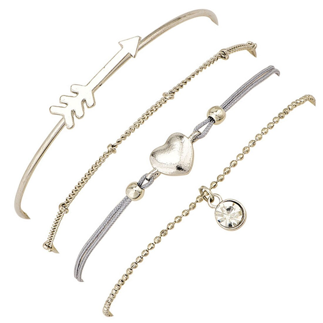 Arrow Heart Charm Bracelets Set