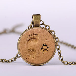 Dog Paw and Footprint Pendant Necklace