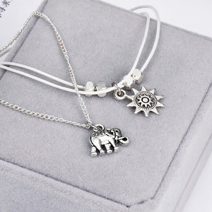 Elephant & Sun Pendants Anklets Set