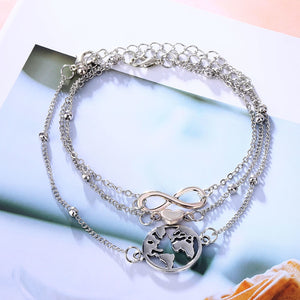 Infinity, Heart, & Map Anklets Set