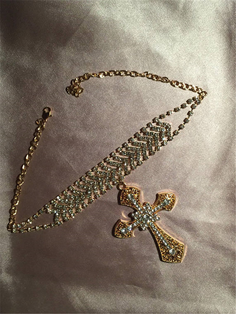 Cross Crystal Choker Necklace