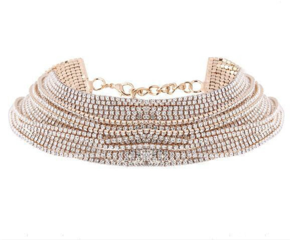 Multilayered Crystal Choker Necklace