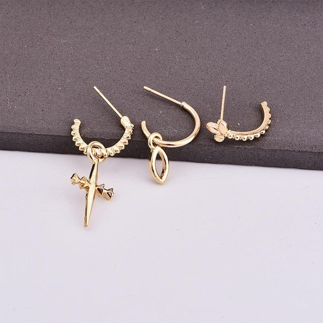 Cross Earrings Set