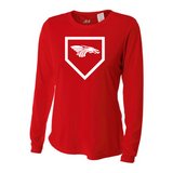 Womens Long Sleeve T-Shirt - Dragons Baseball Home Plate