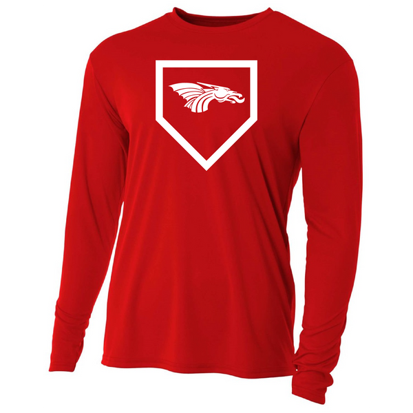 Mens Long Sleeve T-Shirt - Dragon Baseball Home Plate
