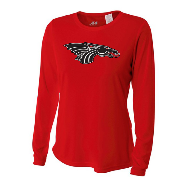 Womens Long Sleeve T-Shirt - Black Dragon Head Logo