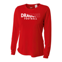 Womens Long Sleeve T-Shirt - White Dragons Football Slashed