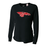 Womens Long Sleeve T-Shirt - Red Dragon Head Logo