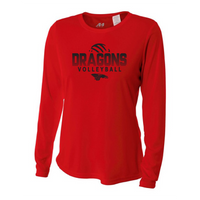Womens Long Sleeve T-Shirt - Dragons Volleyball