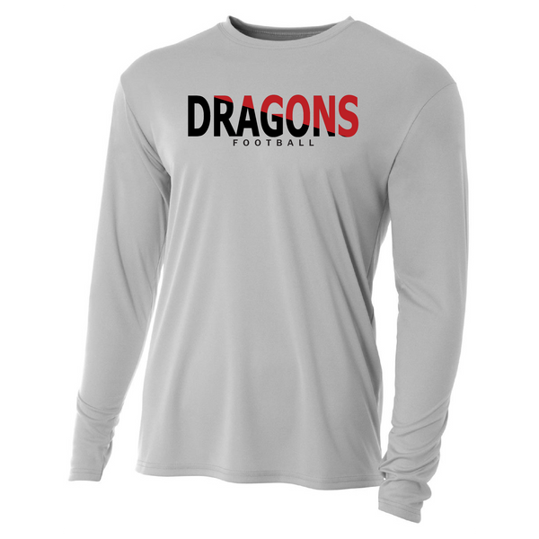 Mens Long Sleeve T-Shirt - Dragons Football Slashed