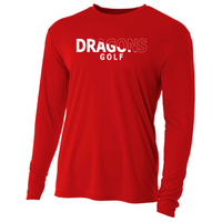 Mens Long Sleeve T-Shirt - Dragons Golf Slashed White