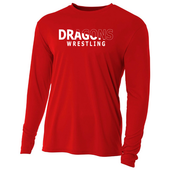 Mens Long Sleeve T-Shirt - Dragons Wrestling Slashed White