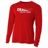 Mens Long Sleeve T-Shirt - Dragons Track Team Slashed White
