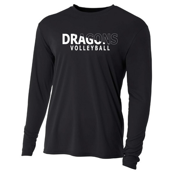 Mens Long Sleeve T-Shirt - Dragons Volleyball Slashed White