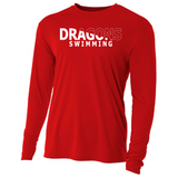 Mens Long Sleeve T-Shirt - Dragons Swimming Slashed White