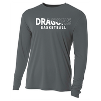 Mens Long Sleeve T-Shirt - Dragons Basketball Slashed White