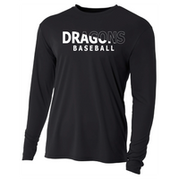 Mens Long Sleeve T-Shirt - Dragons Baseball Slashed White