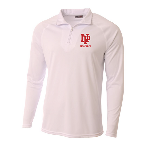Mens Quarter Zip Pullover - Red NP DRAGONS, stacked