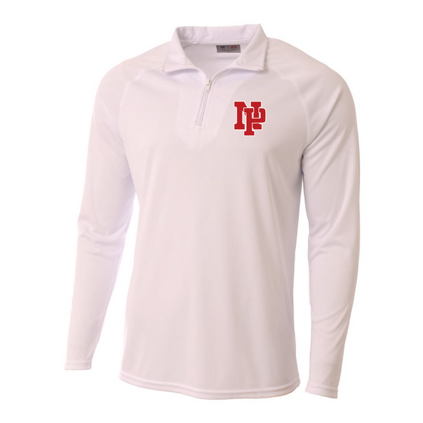 Mens Quarter Zip Pullover - Red NP Logo, White Outline
