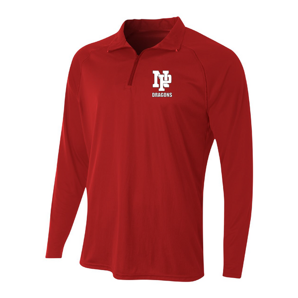 Mens Quarter Zip Pullover - White NP DRAGONS, stacked