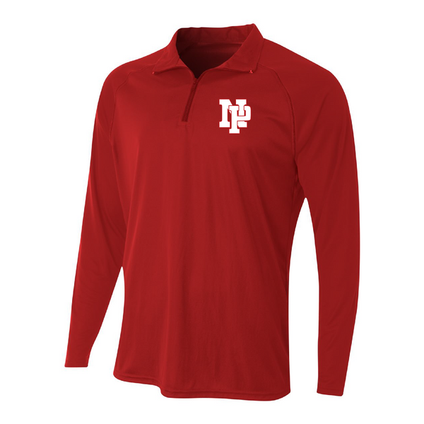 Mens Quarter Zip Pullover - White NP Logo, Red Outline