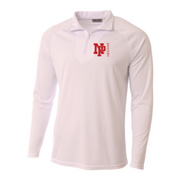 Mens Quarter Zip Pullover - Red NP DRAGONS, side by side