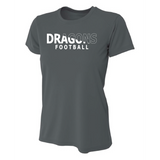 Womens Short Sleeve T-Shirt - White Dragons Football Slashed