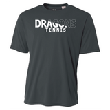 Mens Short Sleeve T-Shirt - Dragons Tennis Slashed White