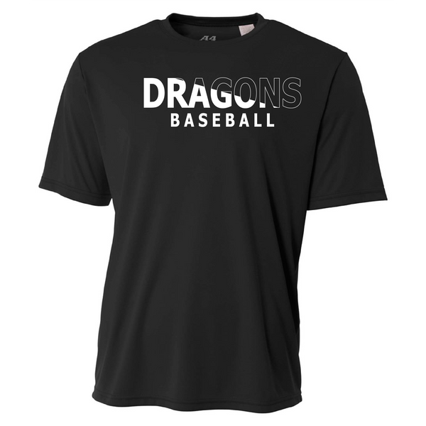 Mens Short Sleeve T-Shirt - Dragons Baseball Slashed White