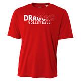 Mens Short Sleeve T-Shirt - Dragons Volleyball Slashed White