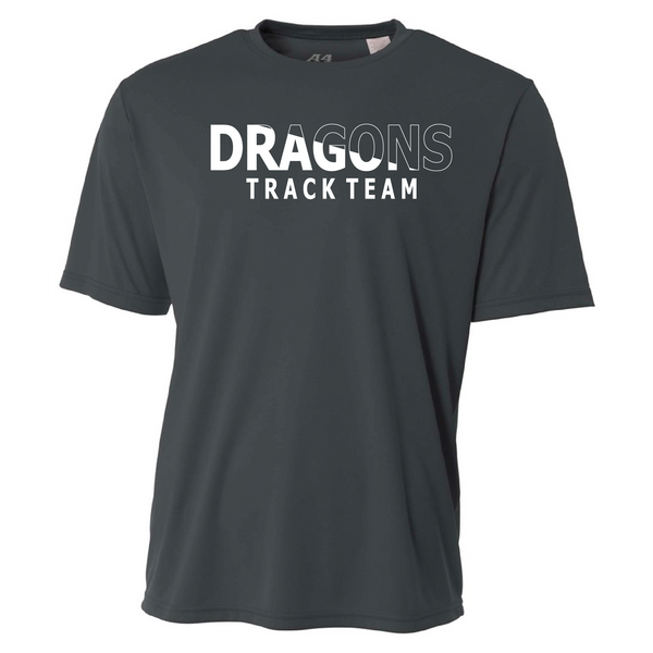 Mens Short Sleeve T-Shirt - Dragons Track Team Slashed White