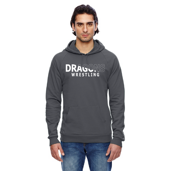 Unisex California Fleece Hoodie - Dragons Wrestling Slashed White