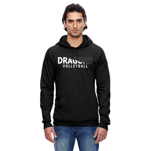 Unisex California Fleece Hoodie - Dragons Volleyball Slashed White