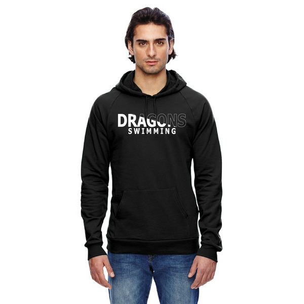 Unisex California Fleece Hoodie - Dragons Swimming Slashed White