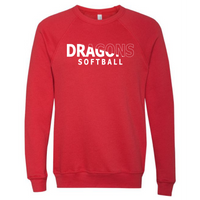 Unisex Sponge Fleece Sweatshirt - Dragons Softball Slashed White