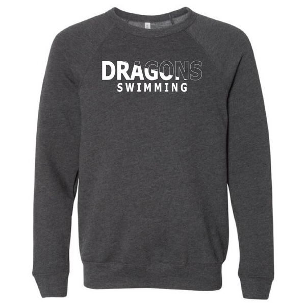 Unisex Sponge Fleece Sweatshirt - Dragons Swimming Slashed White