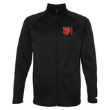Unisex Performance Fleece Full-Zip Jacket - Red NP DRAGONS, side by side