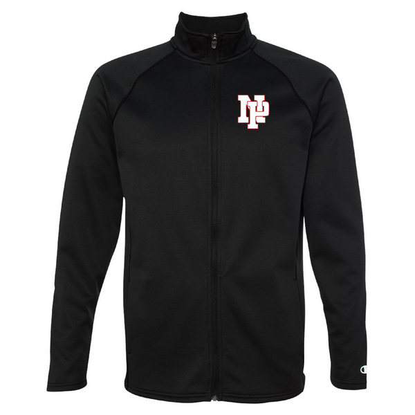 Unisex Performance Fleece Full-Zip Jacket - White NP Logo, Red Outline