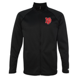 Unisex Performance Fleece Full-Zip Jacket - Red NP Logo, White Outline