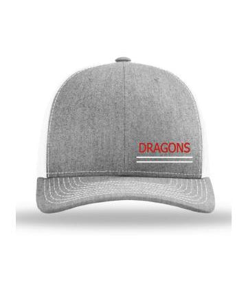 Heather Grey on White w/Dragons Logo (embroidered)