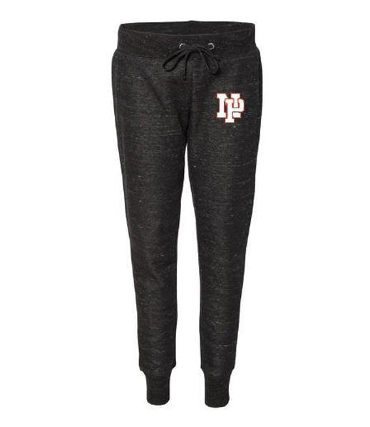 Women's Jogger Pants - White NP Logo, Red Outline