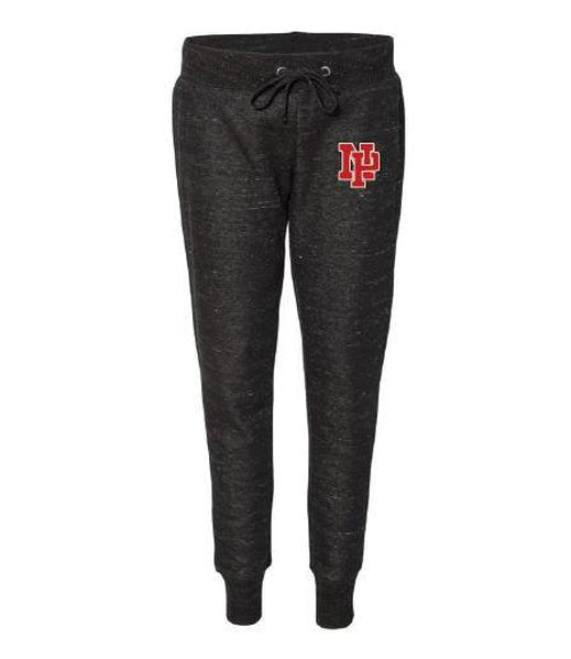 Women's Jogger Pants - Red NP Logo, White Outline