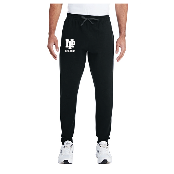Adult Unisex Joggers - White NP Dragons, Stacked