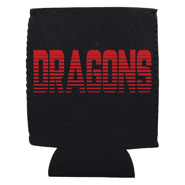 Red Horizontal Striped DRAGONS Koozie