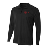Mens Quarter Zip Pullover - Dragon Head Outlined (red)