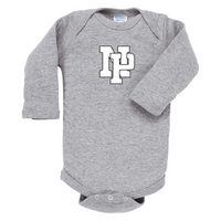 Infant Long-Sleeve Onsie - White NP Logo, Black Outline