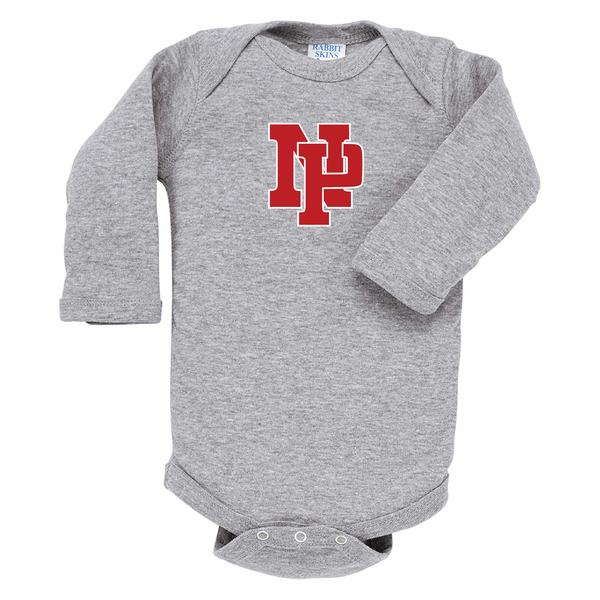 Infant Long-Sleeve Onsie - Red NP Logo, White Outline