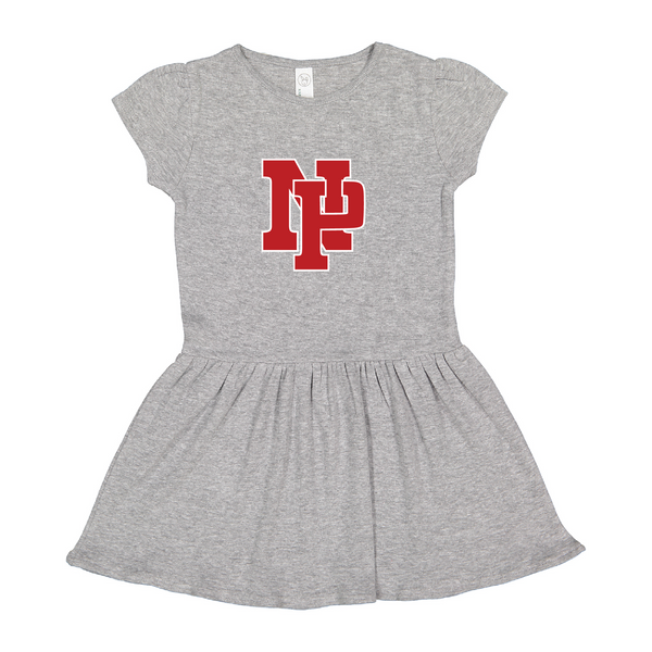 Baby/Toddler Dress - Red NP Logo, White outline